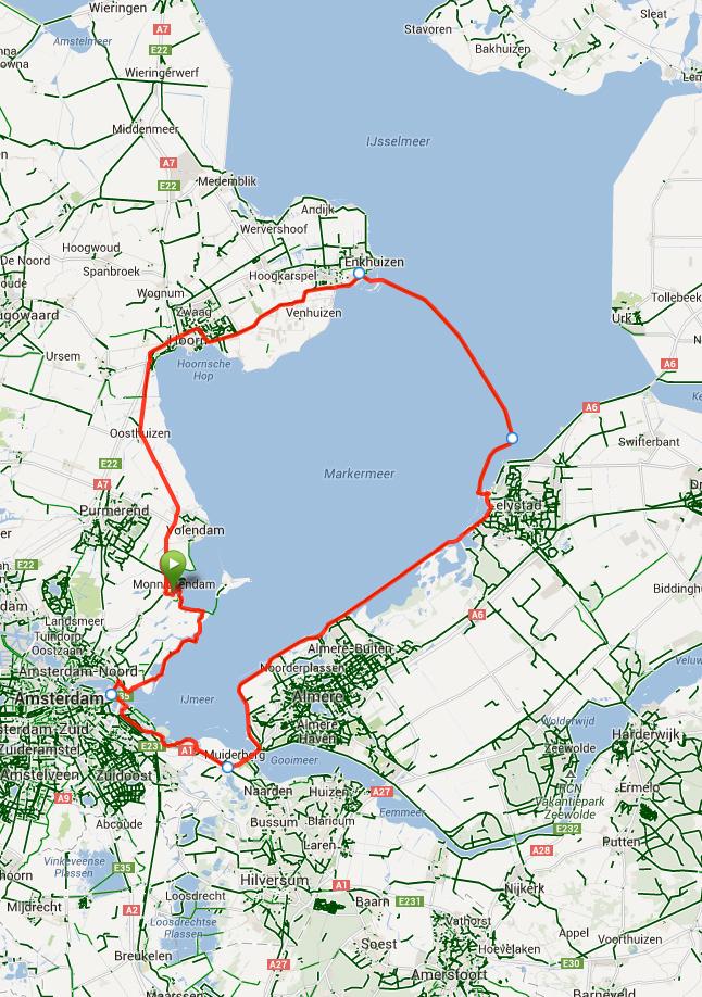 De route van 145 km.