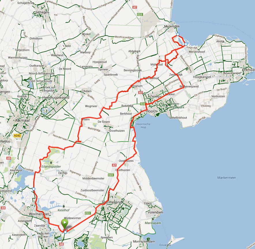 De route van 130 km.
