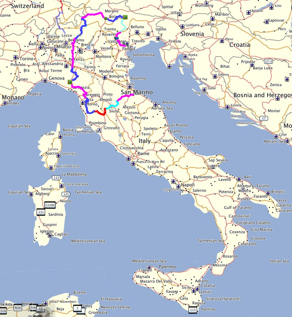 Italie routes